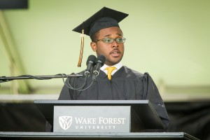 Wake Forest University holds its Commencement ceremony on Hearn Plaza on Monday, May 20, 2013.  Class president Tre Easton ('13) gives the greetings from the class of 2013.